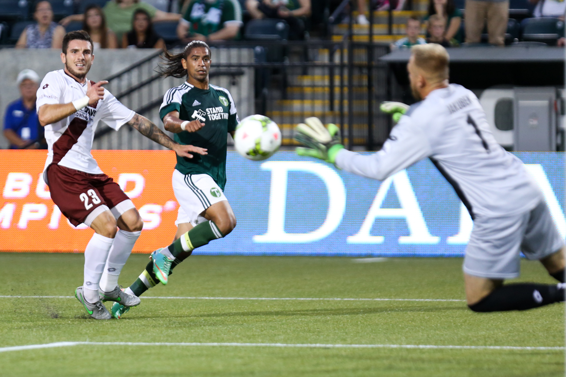 September 12, 2015; Portland, OR, USA; Jeanderson (15) takes a shot on goal at Providence Park. Photo: David Blair - Portland Timbers FC