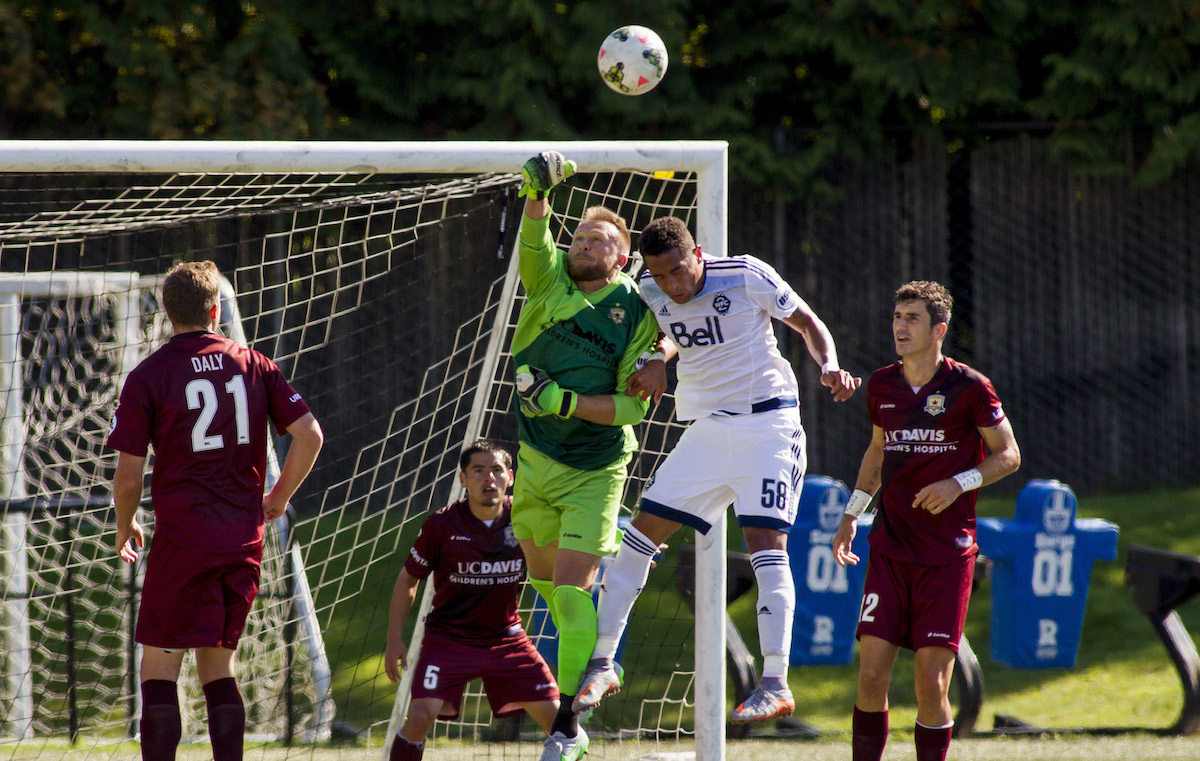 06 September 2015:  Action during a game between Vancouver Whitecaps FC 2 and Sacramento Republic FC in United Soccer League (USL) action at Thunderbird Stadium on the campus of the University of British Columbia in Vancouver, BC, Canada.  ****(Photo by Bob Frid - Vancouver Whitecaps 2015 -  All Rights Reserved)
